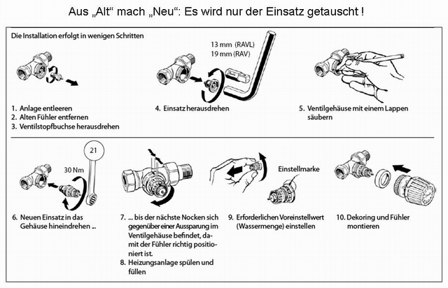 Bevorzugt Hydraulischer Abgleich - Thermostatventil und Fühlerelemente YF94